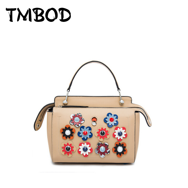 NEW 2018 Brand Flower Tote with A Clutch Lady Bag Cowhide Women Split Leather Handbags Ladies Messenger Bags Bolsas an403 yuanyu 2018 new hot free shipping real python leather women clutch women hand caught bag women bag long snake women day clutches