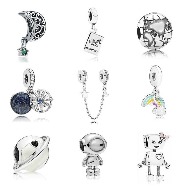 Nouvelle D'origine Livraison Gratuite Sliver Plaqué Perle Vacances Voyage De Noël Charme Fit Pandora Bracelet Collier bricolage bijoux pour femmes