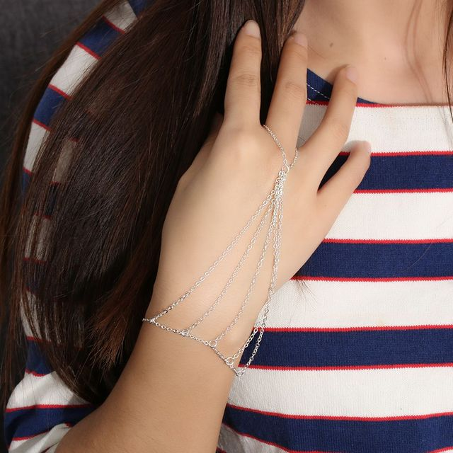 1 PC New Brand High Quality Fashion Sexy Women Tassel Alloy Gold/Silver Colors Vintage Bangle Punk Chain Bracelet Jewelry