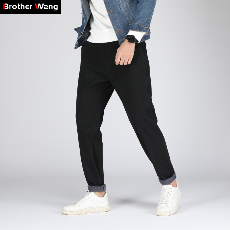 Male Pants Trousers Thickening Winter Men's Plus-Size Fashion New Warm Slim 48 46 44