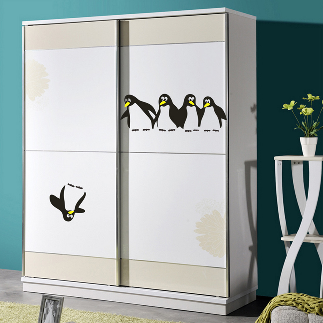 1PC Cute Penguin Funny Kitchen Fridge Sticker Dining Room Kitchen Decorative Wall Stickers Home DIY Decals