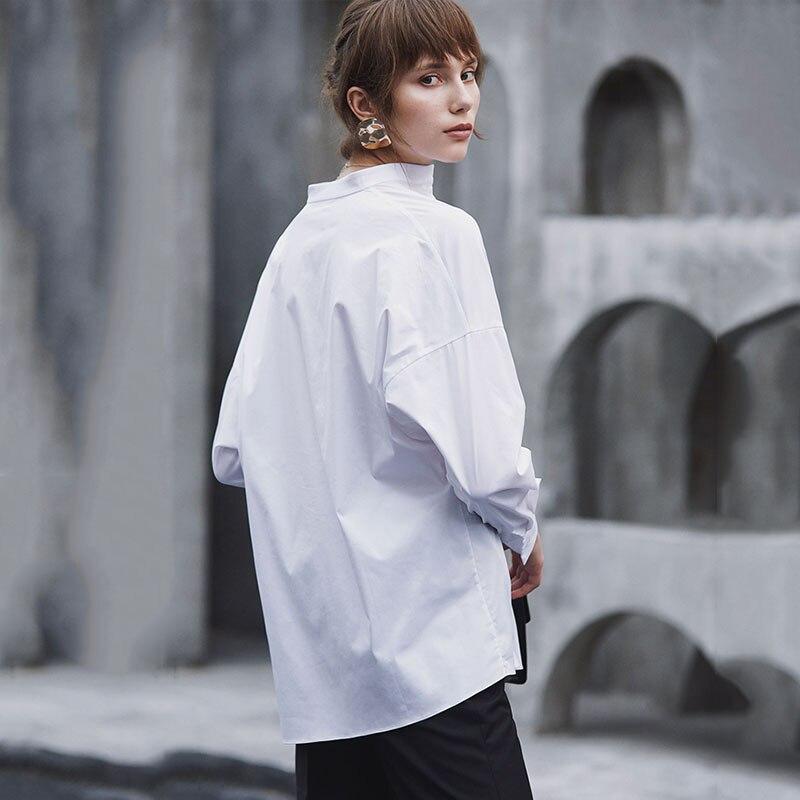HG blanc lâche Blouse femmes irrégulière mince mode bouton élégant col montant loisirs 2019 nouveau automne chemises dames ZYQ1168 - 4