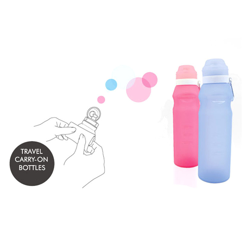 blue pink 600 ml outdoor bicycle sport drink bottle for water sports foldable silicone bottle travel with steel hook