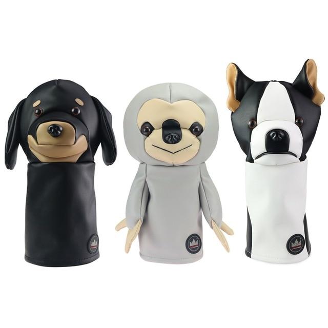 Cubierta de cabeza de Animal para Conductor de Golf Craftsman, cubierta para Conductor de Golf con perro salchicha/Bulldog/perezoso de 460cc, cubierta de madera para palos, cubierta de cuero de PU