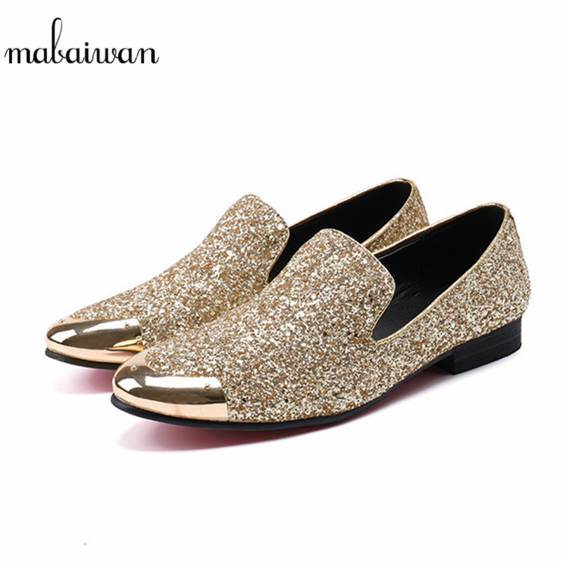 Mabaiwan New Gold Glistening Glitter Men Loafers Metal Toe Sequins Slippers Leather Wedding Shoes Mens Casual Dress Shoes Flats ovxuan metal skull buckle handmade men ankle shoes punk party dress loafers glitter bright sequins men flats casual rivets shoes