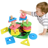 Brand Baby Toys Wooden Toy Geometric Shaped Sorter Color Block Early Childhood Educational Toy Preschool Learning