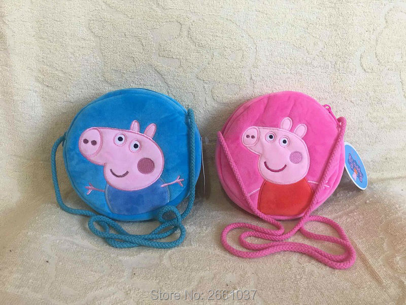 1pcs 16CM Genuine plush pig bag Pink Peppa Pig George Backpack high quality hot sale Animal satchel For Children's haversack