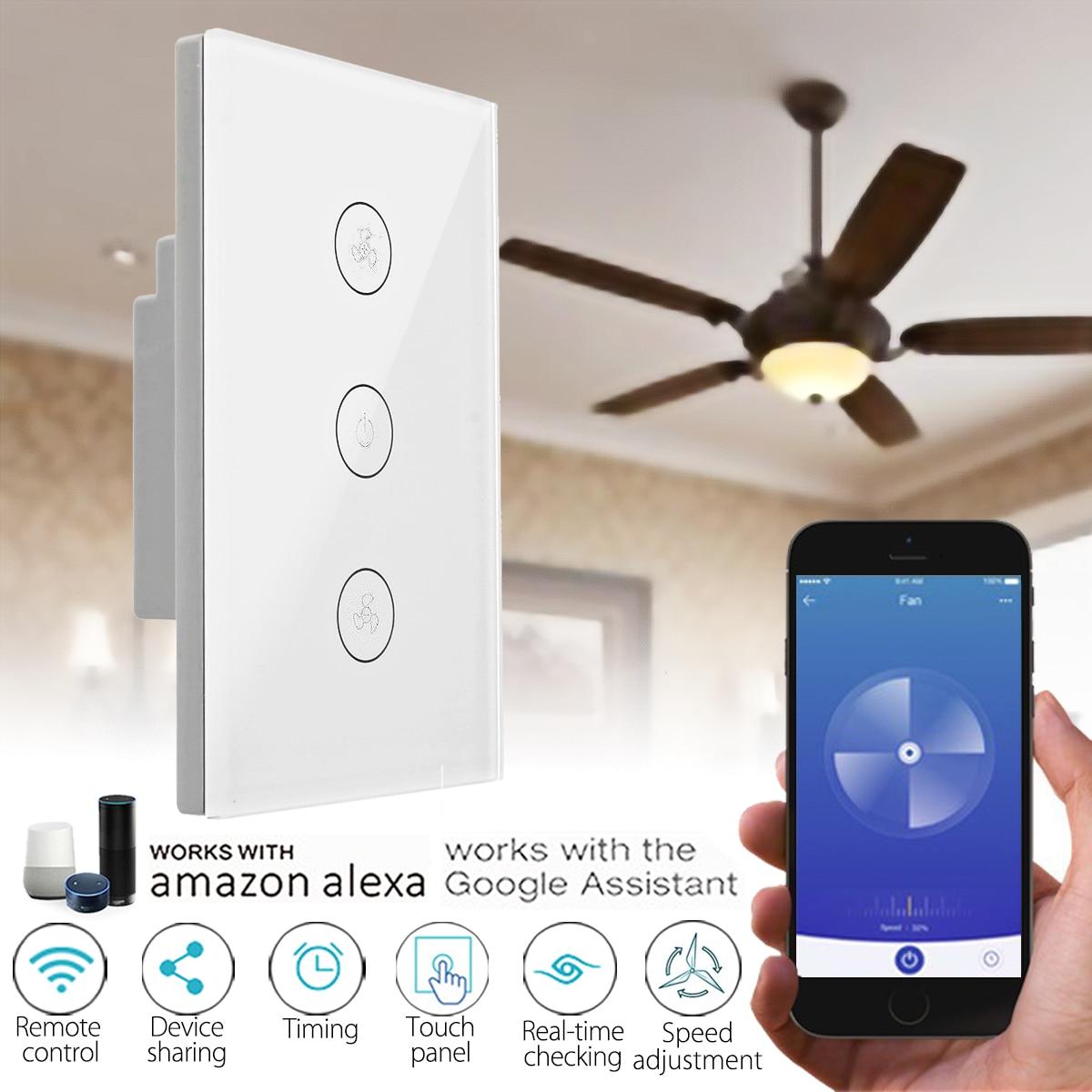 Standard DEGLI STATI UNITI 400 w 10A WIFI Intelligente Parete Interruttore Ventilatore A Soffitto Controller Touchs Lavoro Pannello con Alexa Google Casa
