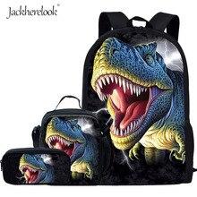 Jackherelook Tyrannosaurus Rex Dinosaur Pattern Kids Boys Schoolbags Large Orthopedic 3PCS Set Satchel School Students Backpack