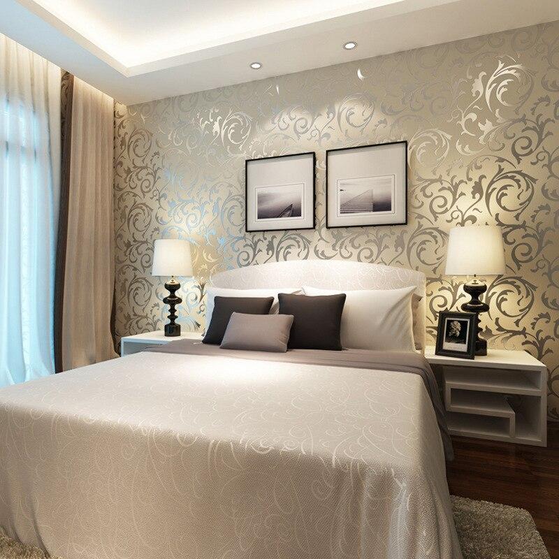Aliexpress Buy Gold Wallpapers 3D Wall Murals European Non Woven Paper Flower Bedroom Wallpaper For WallsGrey Papel De Parede Para Quarto From