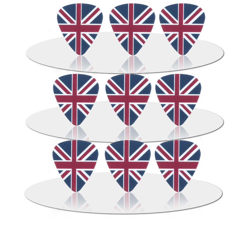 SOACH 50PCS 0.46mm Hot Sale Exquisite High Quality Two Side Earrings Pick DIY Design The British Flag Pick Guitar Picks