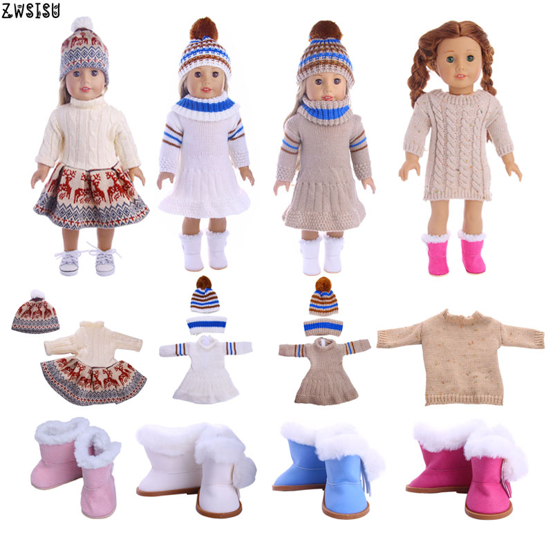 Doll Clothes 4 Pcs Sweater+Knitted Hat & Plush Boots For 18 Inch American Doll & 43 Cm Born Doll For Generation Girl`s Christmas