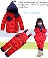Conjunto de Roupas Crianças Terno De Esqui do inverno das Crianças Snowsuits Macacão Meninas Do Bebê Para Baixo Casaco Quente Jaquetas + Calças jardineiras 2 pçs/set
