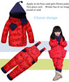 Ropa Para Niños Set Niños Traje de Esquí de invierno Monos de los Bebés Abajo Cubre Caliente Snowsuits Chaquetas + Pantalones del babero 2 unids/set