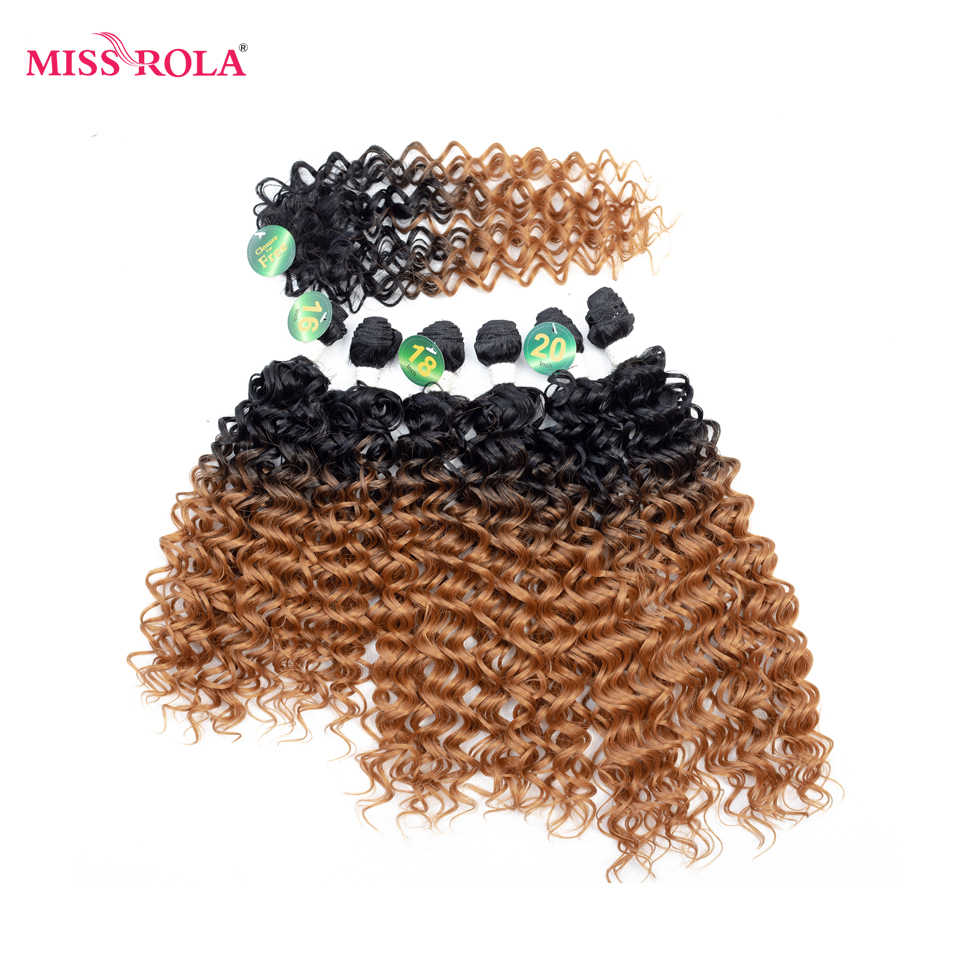 Miss Rola Short Curly Synthetic Hair Extensions #1 6pcs/Pack Kanekalon Fiber Weave For Women 16 18 20 inch Hair Weaving