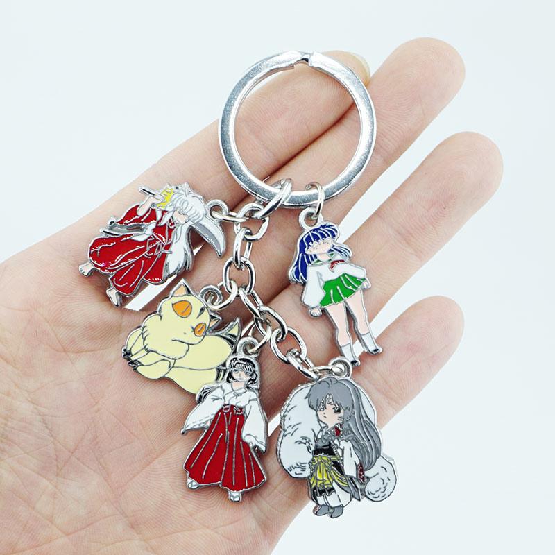 Japan Anime Inuyasha Keychain Keyring 5 in 1 set Alloy Metal Pendants Cartoon Key Ring Cos