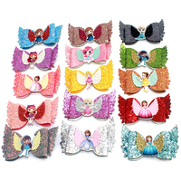 4 Inch Cartoon Princess Girls with wings Hair Bows Boutique Hairpins leather Kids hair clips