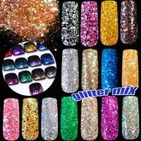 500g/bag Mix Color Size Nail Glitter Powder Hexagon Shape Sequins Glitter Nail Powder Sheets Tips DIY UV Nail Art Decoration