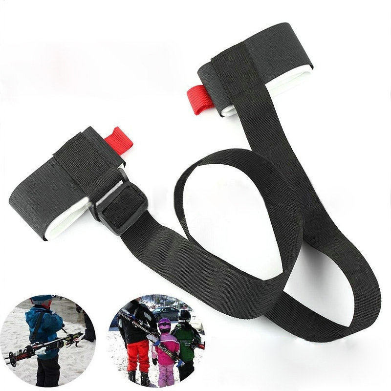 Durable Snowboard Board Bag Nounting Ski Pole Shoulder Hand Carrier Lash Handle Straps Porter Adjustable Black