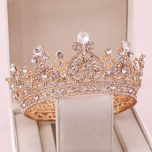 Image 2 - シルバー色ゴールドビッグラウンドクラウンバロックティアラクラウンクリスタルハートウェディングヘアaccessorie女王プリンセス王冠花嫁飾り