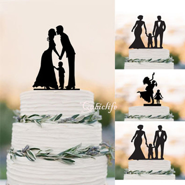 Wedding Cake Topper Silhouette Groom and Bride with little Boy ...