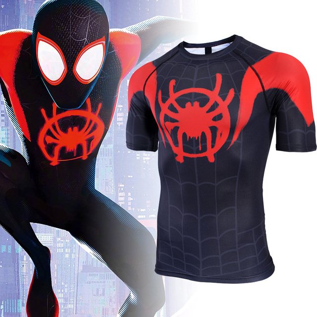 e7195ac2117 2018 Movie Spider-Man Into the Spider-Verse Miles Morales Cosplay T-Shirt  Black Spider-Man Short Sleeve Polyester Tees Shirt Top