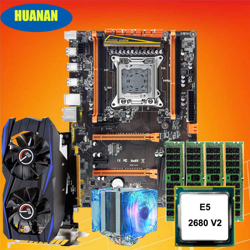 Build PC HUANAN deluxe X79 gaming motherboard set Xeon E5 2680 V2 with CPU Fan RAM 32G(4*8G) DDR3 RECC Video card GTX960 2G DDR5