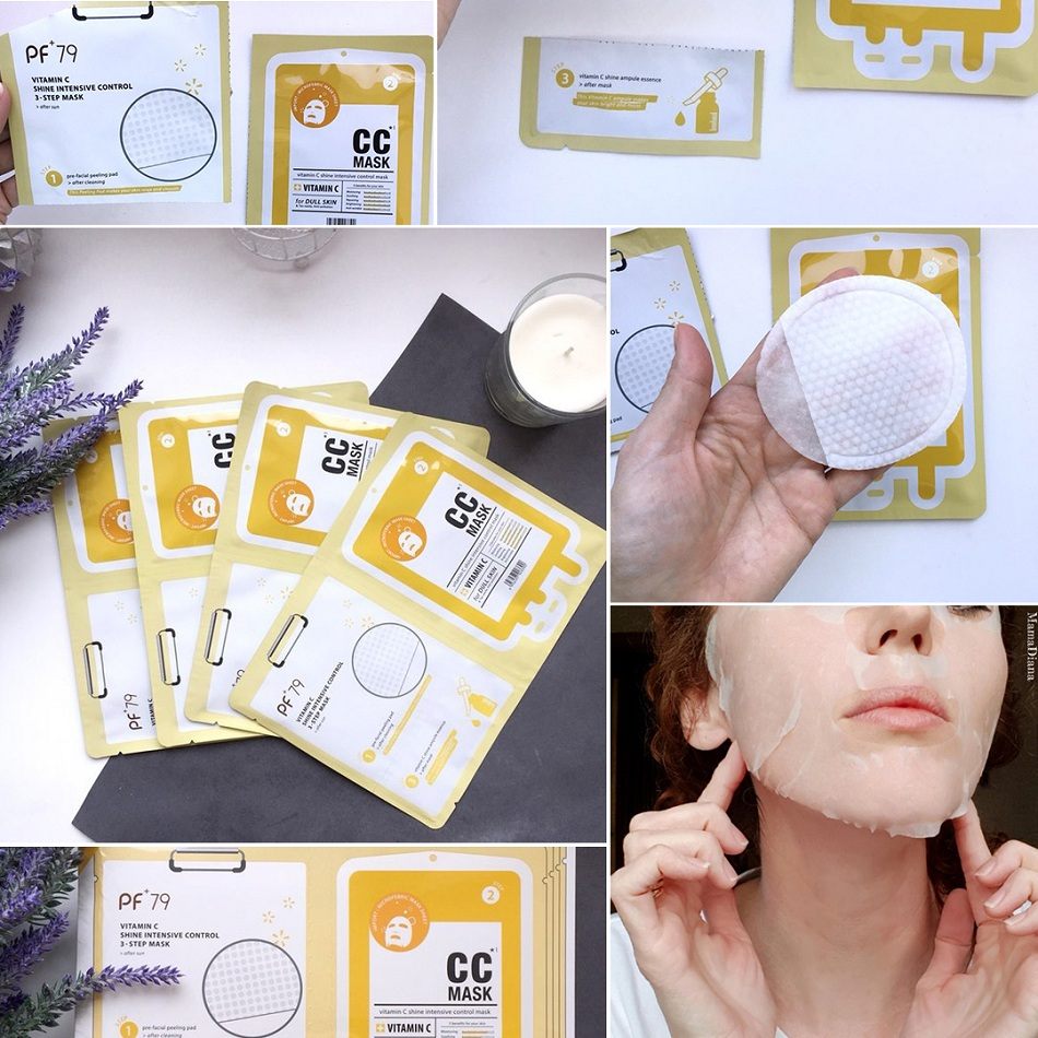 PF79 16pcs/Box Skin Care Sheet Mask Fruit Extracts+Vitamin C Facial Mask Moisturizing Whitening oil Control Mask for Face