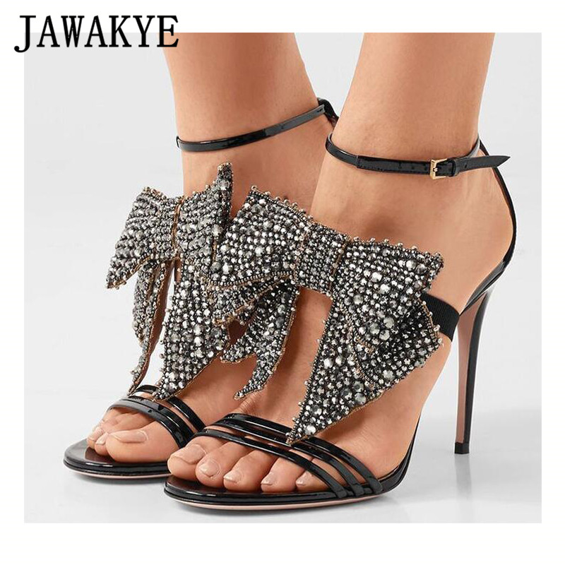 Runway Crystal Butterfly Knot Women Sandals Patent Leather Peep Toe Thin High Heels Summer Shoes Ladies Sexy Party Prom SandalsRunway Crystal Butterfly Knot Women Sandals Patent Leather Peep Toe Thin High Heels Summer Shoes Ladies Sexy Party Prom Sandals