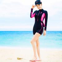 New Wetsuit For Swimming Women One Piece Swimsuit Zipper Printing Long Sleeves Middle Pants Body Suit Equipment Water Sports Wet