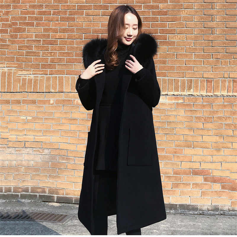 Black Woolen Coat 2018 Winter Women Jacket New Fashion With Fur Collar Hooded Outerwear Mid Long Slim Female Blends Coats DT0474