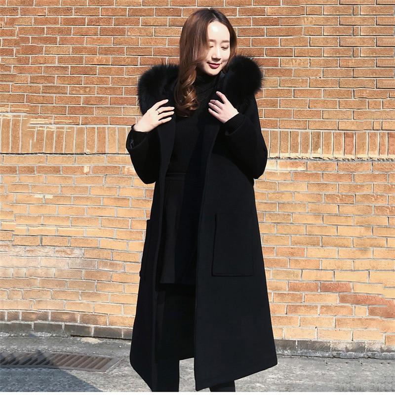 สีดำเสื้อขนสัตว์ 2018 ผู้หญิงฤดูหนาวเสื้อใหม่แฟชั่นขนสัตว์ Hooded Outerwear กลางยาวหญิงผสมเสื้อโค้ท DT0474-ใน ขนสัตว์และขนสัตว์ผสม จาก เสื้อผ้าสตรี บน AliExpress - 11.11_สิบเอ็ด สิบเอ็ดวันคนโสด 1
