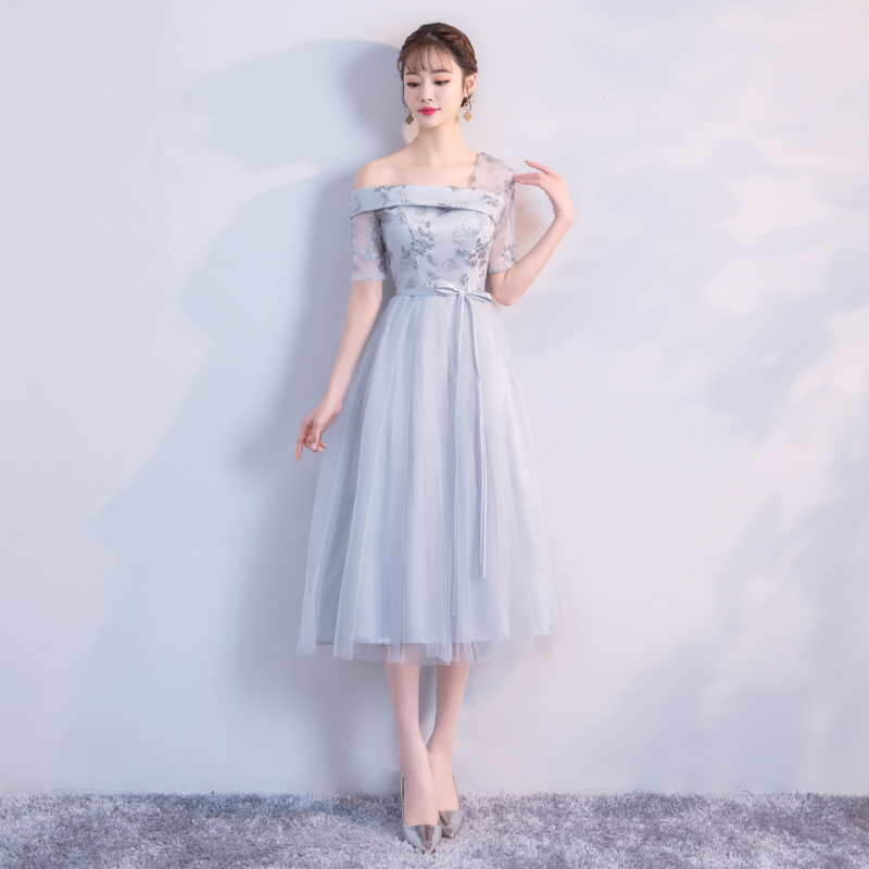 Grey Colour Midi  Dress  Wedding Party Dresses For Women  Bridesmaid Dresses  Embroidery One Shoulder