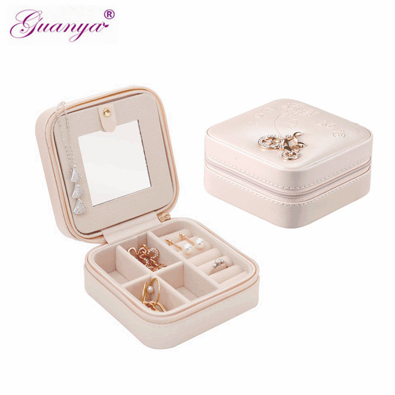 Guanya Stud Earrings Rings Jewelry Box Portable Storage Organizer Zipper Portable Women Useful Makeup Display Travel Case Gift