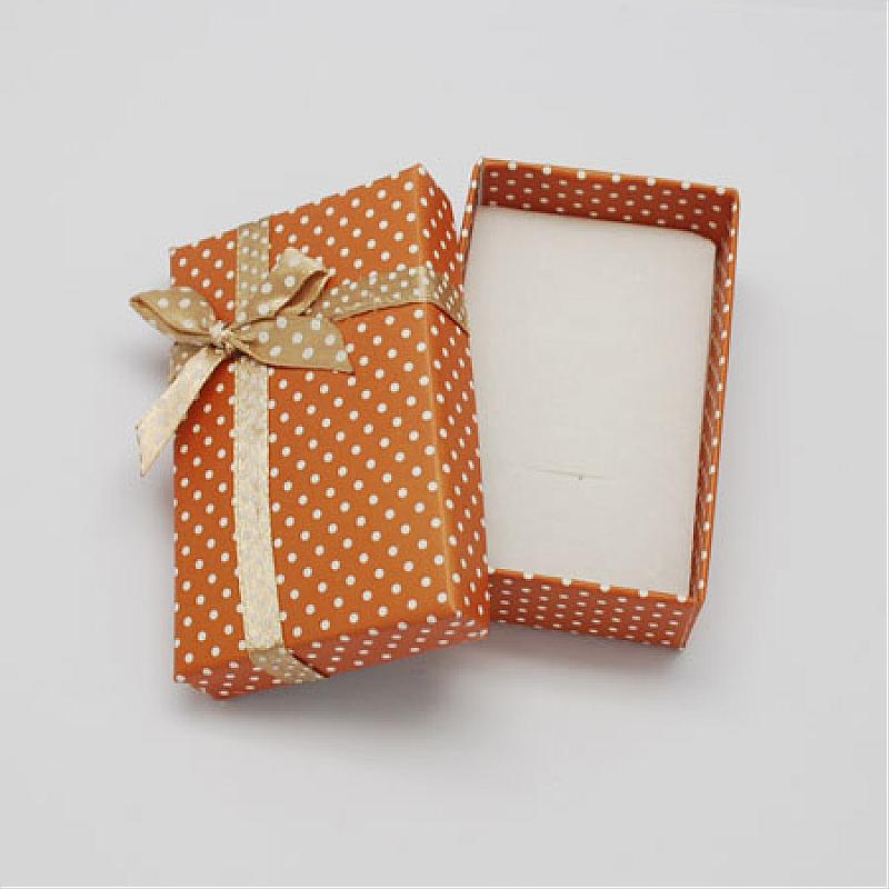 Cardboard Jewelry Set Boxes, with Bowknot Outside and Sponge Inside, for Necklaces and Pendants, Rectangle, SandyBrown,