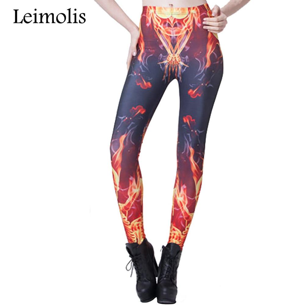 Leimolis 3D printed fitness push up workout leggings women gothic fire flame skeleton plus size High Waist punk rock pants
