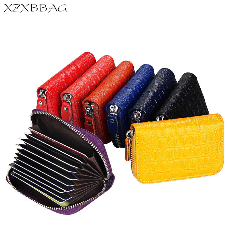 XZXBBAG Genuine Cowhide Leather Crocodile Grain Card ID Holders Women Fashion Expandable Credit Card Case Female Bank Organ Card