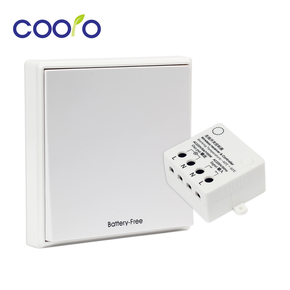 Wireless Light Switch Kit,Battery-Free,Remote Switch Quick Create or Relocate in Anywhere,Self-Powered Switch,Easy Installation