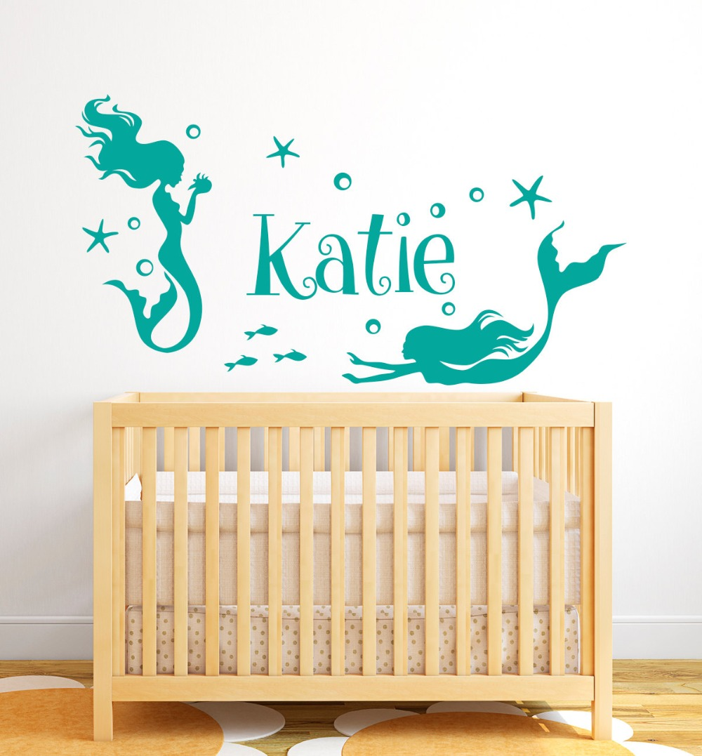 Beautiful mermaid nymph wall decal vinyl personalized name wall stickers for girls room kids nursery custom name decor syy226