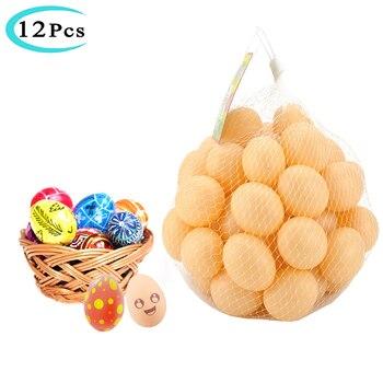12 Uds. De huevos de plástico para pintar DIY, simulación de eclosión, huevos de Pascua para bebé, juguete educativo