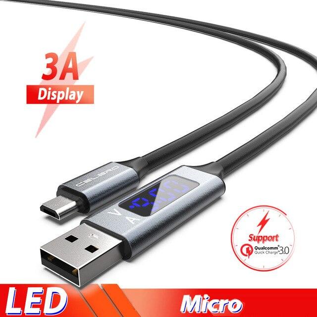 Led דיגיטלי תצוגת מיקרו Usb מהיר טעינת כבל Microusb לסמסונג גלקסי A6 A7 2018 M10 A10 Xiaomi Redmi 7 טלפון כבל חוט