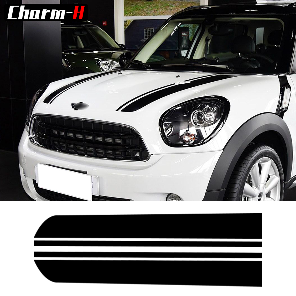 Hood Decal Bonnet Racing Stripes Engine Cover Vinyl Decal Stickers For BMW Mini Cooper Countryman R60 Clubman R55 2010-2016 car styling hood trunk bonnet rear racing door side stripe decal stickers for bmw mini cooper s countryman f60 all4 accessories