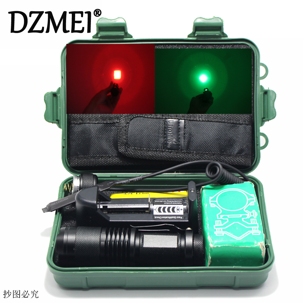 Zoom Red/Green Waterproof LED Flashlight Tactical Zoomable Hunting 18650 Flash Light With Gun Clip Remote Pressure Switch storm yoyo ball with light and flash green