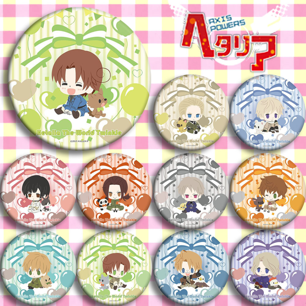 Japan Anime Hetalia E Cosplay Badge 58mm Cartoon Collection Backpacks Badges Bags Button Brooch Pins Gift