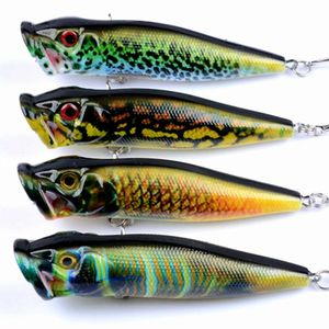 Image 2 - 2017 New 4Pcs Popper Fishing Lures Crankbaits Floating Fishing Tackle Wobblers 3D eyes ABS Plastic Hard Bait 6# Hook 94mm 12.1g