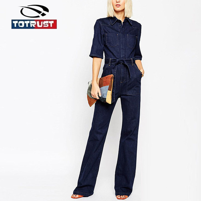 Denim Jumpsuit Jeasns Overalls Long Sleeve Denim Jumpsuit Plus Size Women Romper Casual Long Overall for Women Combinaison Femme