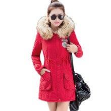 k'raifls New Long Parkas Female Womens Winter Jacket Coat Thick Cotton Warm Jacket Womens Outwear Parkas Plus Size Fur Coat 2017