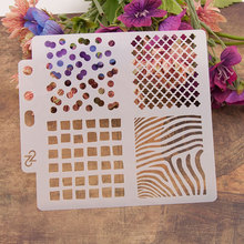 4 Irregular Patterns Stencils for DIY Scrapbooking Plastic Handmade Template Crafts Diary Decor Painting Drawing Spray Tool Card бинго бонго