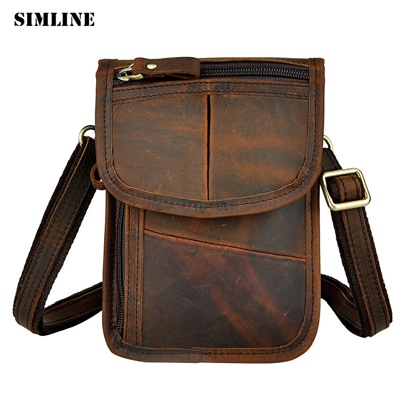 Подробнее о SIMLINE Vintage Fashion Casual Genuine Leather Cowhide Men Male Small Shoulder Messenger Crossbody Bag Bags Waist Packs For Man top genuine cowhide leather men bags male small messenger bag fashion crossbody shoulder bag men s vintage travel new bag bolsa