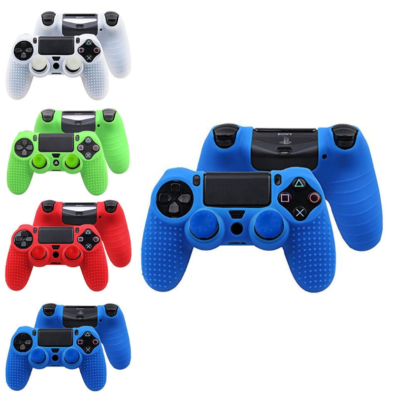 OOTDTY 3-In-1 Anti-Slip Silicone Cover Skin Case + 2 Thumbsticks Grips For Sony Dualshock 4 PS4 Pro Slim Controller